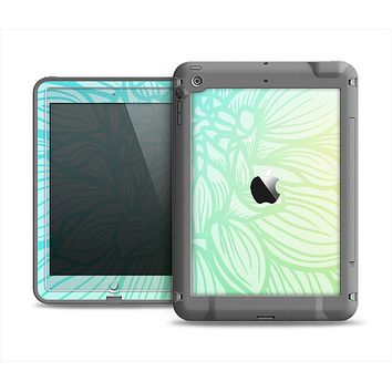 The Faded Blue & Green Subtle Floral Apple iPad Air LifeProof Fre Case Skin Set