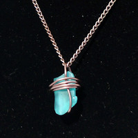 "Wire Wrapped Teal Sea Glass Necklace ""Michele"""