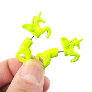 Fake Gauge Earrings: Mythical Unicorn Horse Animal Front and Back Stud Earrings in Neon Yellow