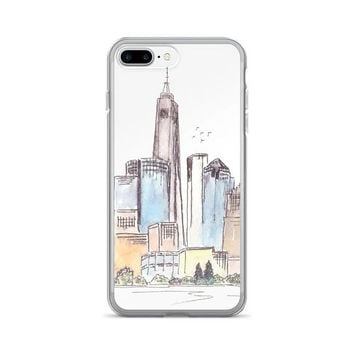 NYC phone case, iPhone 7/7 Plus Case, Skyline sketch, watercolor phone case, New York, Urban cell case, Unique case, painted phone case
