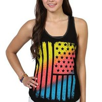 racerback tank with neon american flag screen and stones - 1000048929 - debshops.com