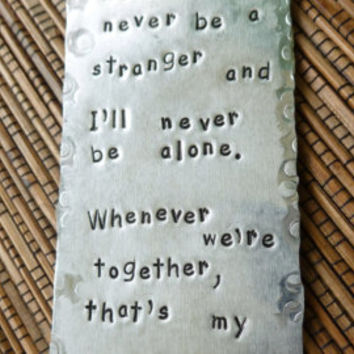 Hand Stamped Aluminum Bookmark - To Thine Own Self Be True