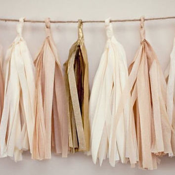 Assorted Colors Paper Tassels Garland, Party Decor, Party Supplies, Decor, Decorations, Tassels, Paper Garlands, Tissue Paper Tassels