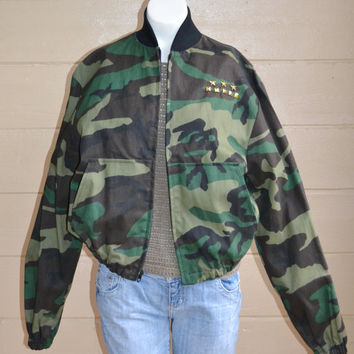 Vintage Military Camo Jacket Army Camo Jacket with Gold Studs and Stars Woodland Camo