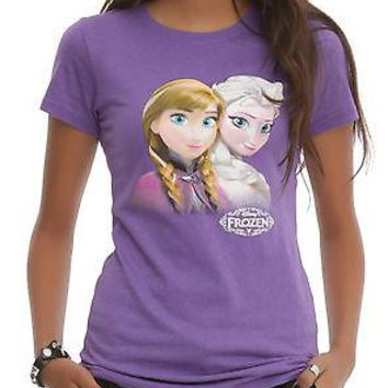 Licensed cool NEW Disney Frozen Elsa & Anna T-Shirt Tee Top Blouse JUNIORS Ladies HOT TOPIC M