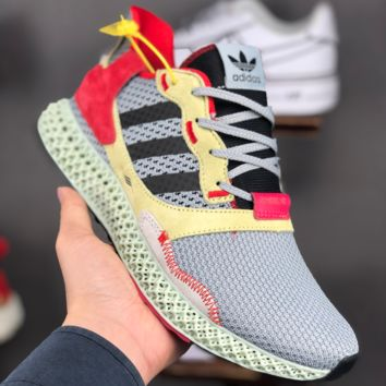 HCXX A1383 Adidas ZX 4000Futurecraft 4D Hollow Braethable Fashion Sports Running Shoes Gray Yellow Red