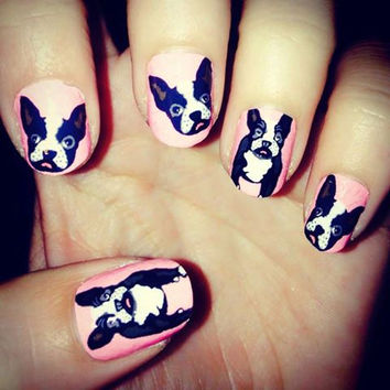 Nail polish strip decal wraps. French bull dog nail art.