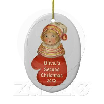 Baby's Second Christmas Custom Name Vintage W1383 Ornament from Zazzle.com