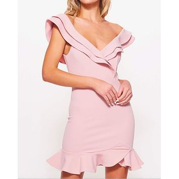 making wishes off the shoulder ruffled mini bodycon dress in blush