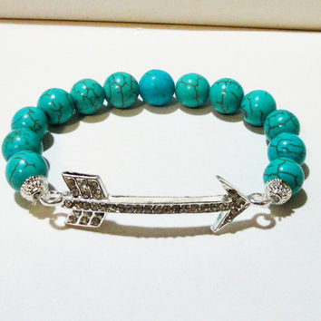 """Blue Turquoise Arrow Head Silver Link Beaded Elastic Bracelet, Fits up to 8.0"""" Gift Under 25 Christmas Gift"""