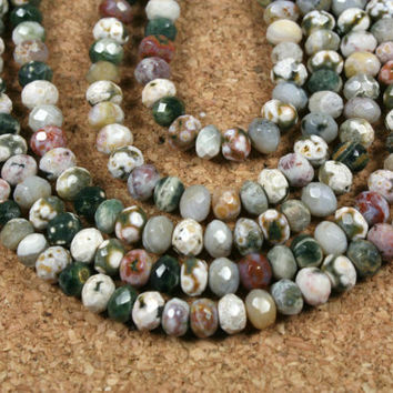 Ocean Jasper Rondelle Beads - Multicolored Faceted Natural Stone Beads, 16 inch strand