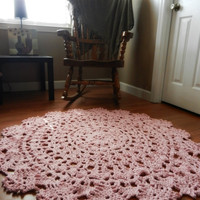 Giant Crochet Doily Rug in Pink Lace -Handmade-Cottage Chic-  Oversized- home decor- floor-