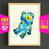 Lego print, Lego watercolor print, Lego Man art, Benny Lego poster, wall art, home decor, kids room, nursery gifts, 547s2g