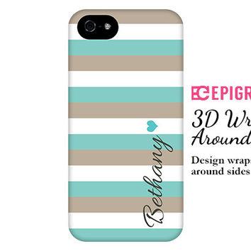 Aqua and khaki stripes personalized iPhone 6 case, custom iPhone 5c case, iPhone 5s case, iPhone 4s case, galaxy s5 case, iPhone 6 plus case