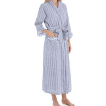 Eileen West 5915923 Summertime Seersucker Ballet Wrap Robe