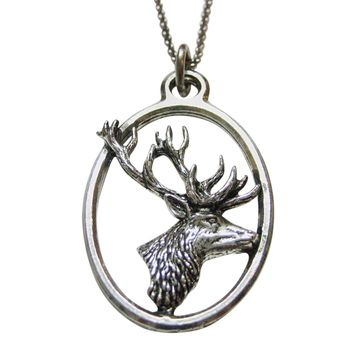 Side Facing Stag Deer Head Large Oval Pendant Necklace