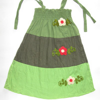 Girl's cotton dress or skirt-medium size-3 to 6 years old dress, handmade with embroidered flowers