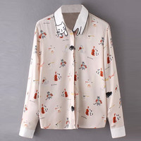 Cat Print Long Sleeve Button Down Shirt