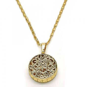 Gold Layered 04.63.1351.18 Fancy Necklace, with White Cubic Zirconia, Diamond Cutting Finish, Golden Tone