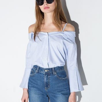 Strappy off the Shoulder Stripe Cotton Shirt