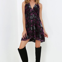 BB Dakota Kensie Black and Purple Floral Print Dress