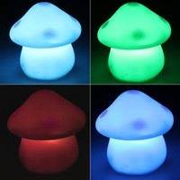 Plastic Mushroom LED 7 Color Changing Night Light Lamp Room Decor