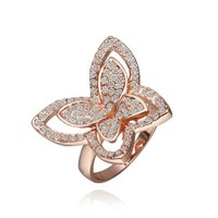 18K Rose Gold Plated Swarovski Elements Crystal Butterfly Ring, Size 8