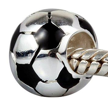 Soccer Football Charm with Black White Enamel Charm Sport Bead Fit DIY Charms Bracelets