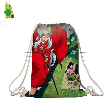 Anime Backpack School kawaii cute Inuyasha Drawstring Bag Women Men Shoes Storage Bags Inuyasha Sesshoumaru Backpack for Teenagers Boys Girls Travel Bags AT_60_4