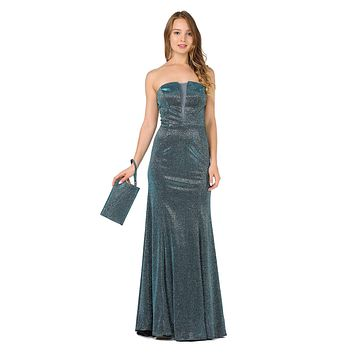 Teal Sheer Cut-Out Bodice Long Strapless Prom Dress