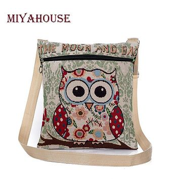 Miyahouse Cartoon Owl Printed Canvas Crossbody Shoulder Bags Summer Casual Women Messenger Bags Female Small Crossbody Bag