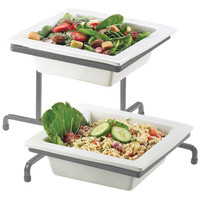 17W x 17D x 13H Prestige Porcelain 2 Tier Offset Bowl Display Platinum