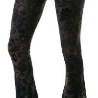 Lip Service Paisley Burnout Flared Pants Black