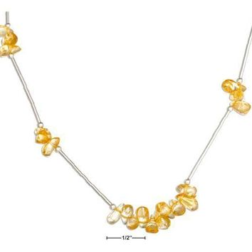 "STERLING SILVER 16"" CITRINE NUGGETS ON LIQUID SILVER NECKLACE"