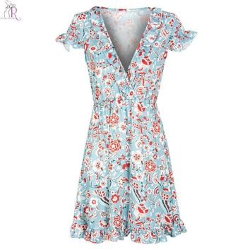 Blue Floral Ruffled Mini Skater Dress Short Cap Sleeve Casual A Line Streetwear Women Summer
