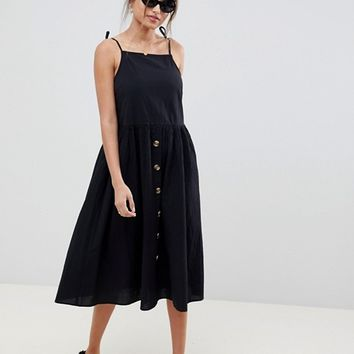 ASOS DESIGN button through casual cami midi smock sundress at asos.com