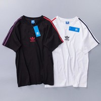 Adidas Fashion New Summer Bust Embroidery Letter Couple Leaf T-Shirt Top