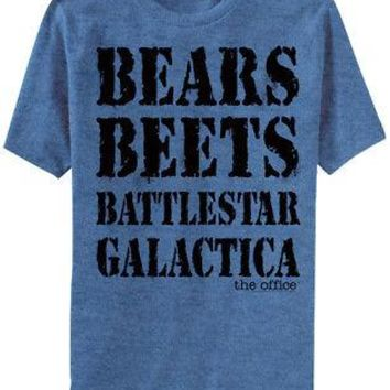 The Office Bears Beets Battlestar Galactica NBC Licensed Adult T-Shirt - Blue
