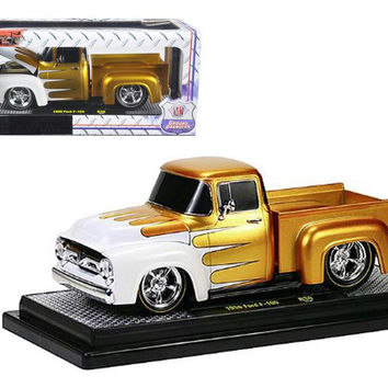 1956 Ford F-100 Pickup Truck Gold Pearl With White Ground Pounders 1-24 Diecast Model by M2 Machines