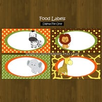 Safari Zoo Jungle Printable Food Labels - Wild Animals Place Cards or Food Labels (Tent Cards) - INSTANT DOWNLOAD