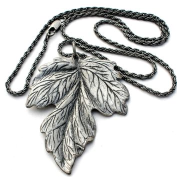 "Vintage Leaf Pendant Necklace Pewter 28"" Long"