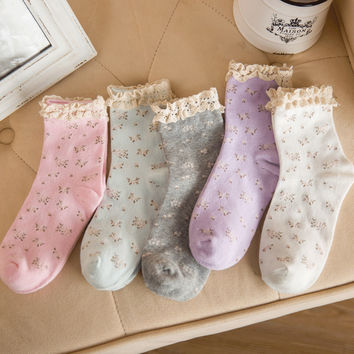 1 Pair Cute  Lace edge Candy colors socks For Women Cotton socks