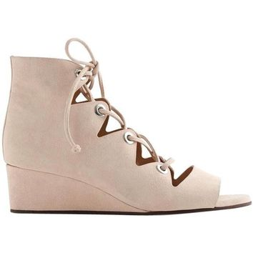 j crew Laila Lace-up Wedges In Suede Desert Pink Sandals