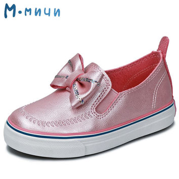 MMNUN Spring Cute Children's Footwear Princess Infant Girl Shoes with Bow-knot PU Children Shoes Girls Toddler Flat Dress Shoes