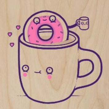 'Coffee With Friends' Funny Coffee Mug & Donut Drinking Brew Together - Plywood Wood Print Poster Wall Art