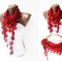 scarf , women fashion scarves , Cotton scarf ,red elegant scarf , scarf trend