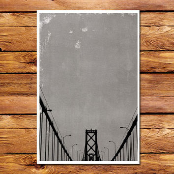 Canvas Bridge Grey Poster