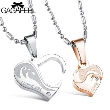 Gold Color AAA Zircon Natural Stone Stainless Steel Men Couples Pendant Necklace Fine Jewelry Love Heart Best Gifts N922