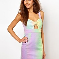 Lashes Of London Bodycon Dress With Rainbow Tie Front at asos.com