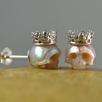 Carved Pearl Skull Stud Earrings-Sterling Silver Crown and Backs - Pearl Earrings - Gift for Her - Holiday Gift - Skull Earrings